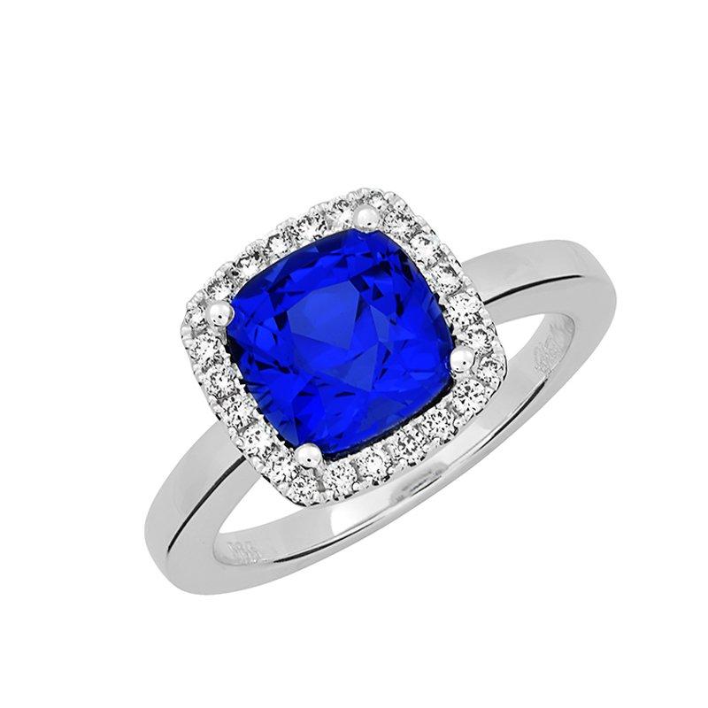 Chatham Chatham Blue Sapphire+Diamond Ring