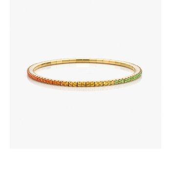 Extensible Round Rainbow Sapphire Bracelet 4.92ctw