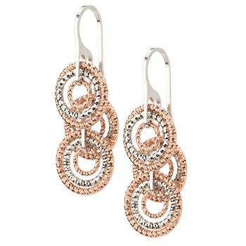 Rose Gold on Sterling Silver layered Circles Earrings