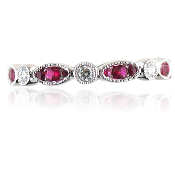 Ruby & Diamond 7/8 Eternity Ring 18K White Gold