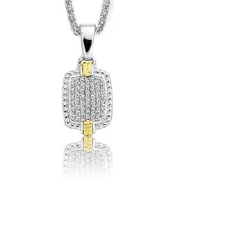 Sterling Silver & 18K Yellow Gold Pave Diamond Pendant