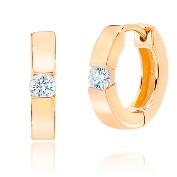 Yellow Gold Diamond Huggy Hoop Earrings