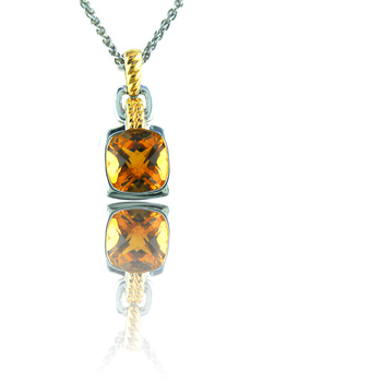 Sterling Silver & 18K Yellow Gold Citrine Pendant