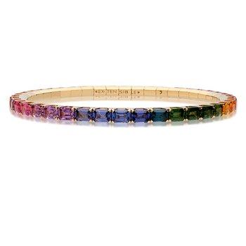 Extensible Emerald Cut Rainbow Sapphire Bracelet 6.97ctw