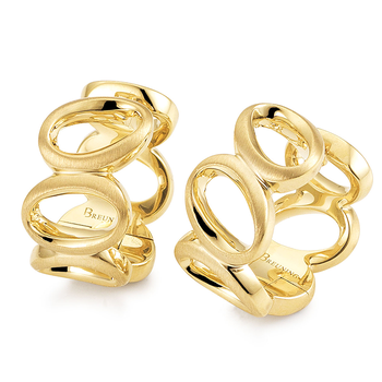 Yellow Gold on Sterling Silver Ovals Huggy Earrings