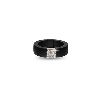 Scacco Diamond & Black Matte Ceramic Ring