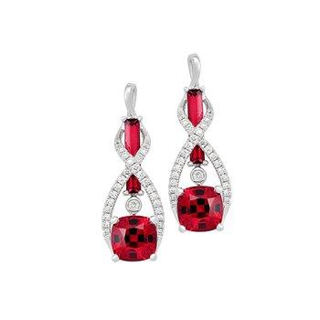 Chatham Created Ruby+Diamond Earrings