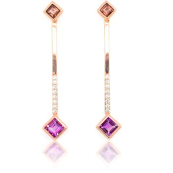 14K Rose Gold & Gemstone Dangle Earrings