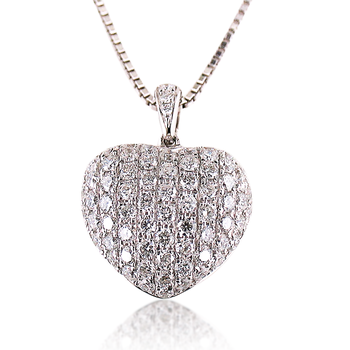 Pave Diamond Puffed Heart Pendant 14K White Gold