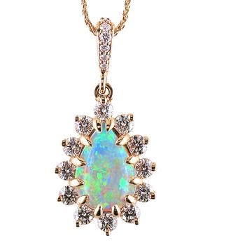 White Opal & Diamond Pendant