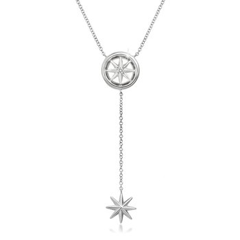 14K White Gold Star Y-Necklace