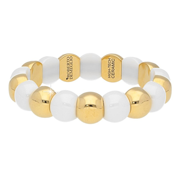 Dama Aura Yellow Gold & White Ceramic Bracelet
