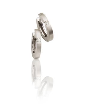 14K White Gold Diamond Huggy Hoop Earrings