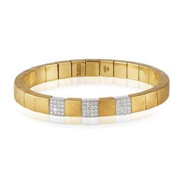 Scacco 3-Block Diamond & 18K Yellow Gold Bracelet