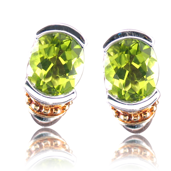 Sterling Silver & 18K Yellow Gold Peridot Earring