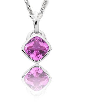 Sterling Silver Created Pink Sapphire Fleur De Lis Pendant