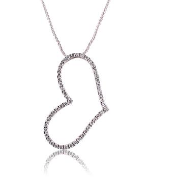 Diamond Heart Outline Pendant 18K White Gold