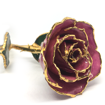 February Birthmonth Lacquer Rose Trimmed in 24K Gold