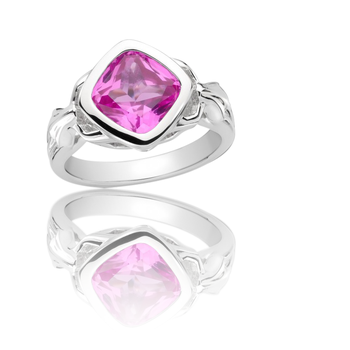 Sterling Silver Created Pink Sapphire Fleur De Lis Ring
