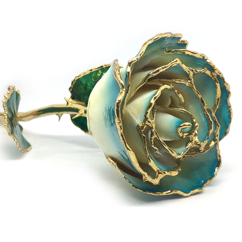 Cream-Turquoise Lacquer Rose Trimmed with 24K Gold