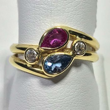 Multi Gem Gold Ring