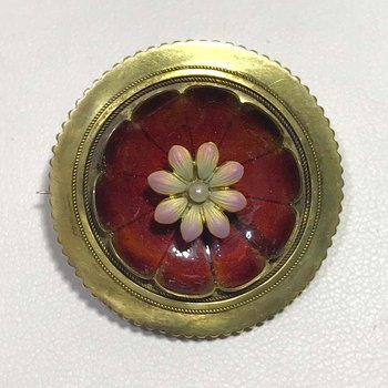 Pearl and Enamel Brooch