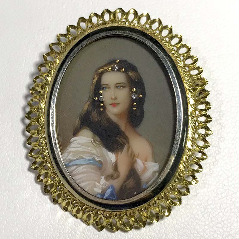 Antique & Estate Painted Portrait Diamond Brooch