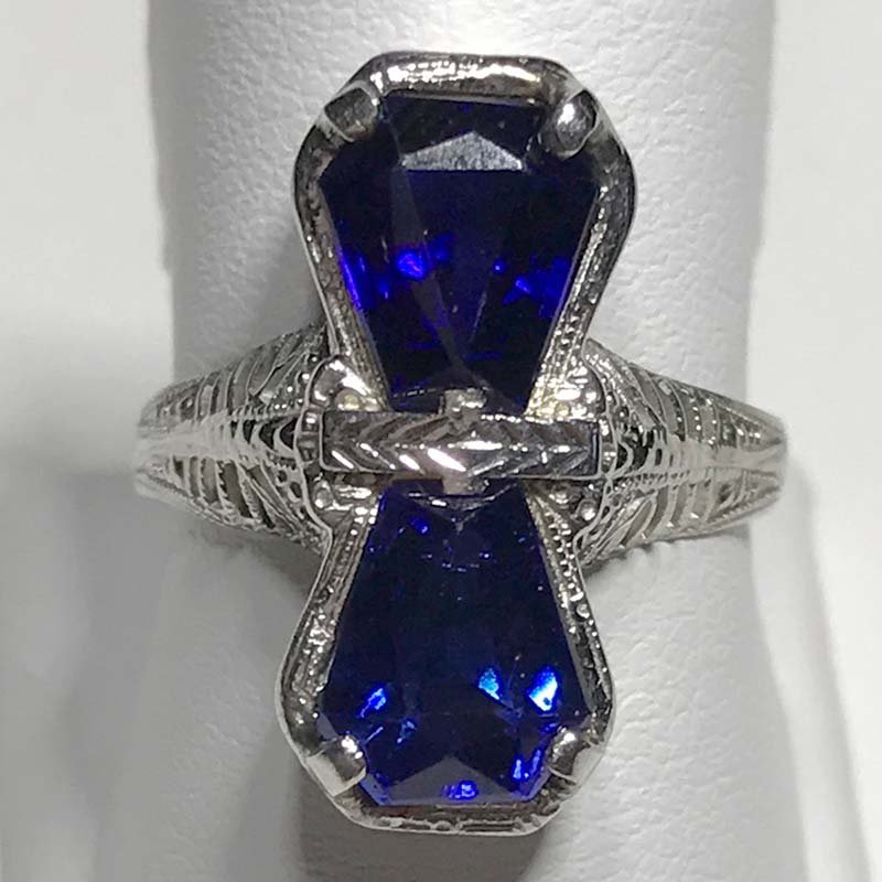 Antique & Estate Art Deco Synthetic Sapphire Ring
