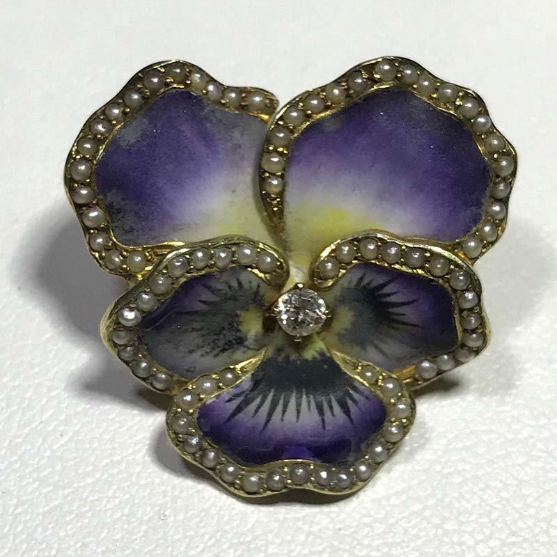 Antique & Estate Victorian Pansy Brooch