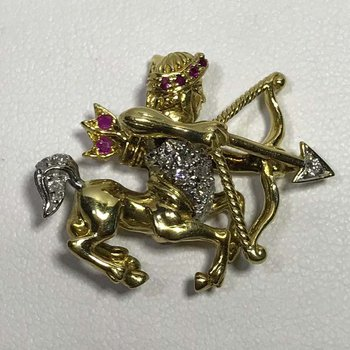 Diamond and Ruby Brooch