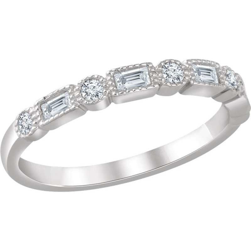 Vivid Jewelers 1/4CTW Round & Baguette Diamond Band