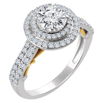 14kt Two Tone Halo Engagement Ring
