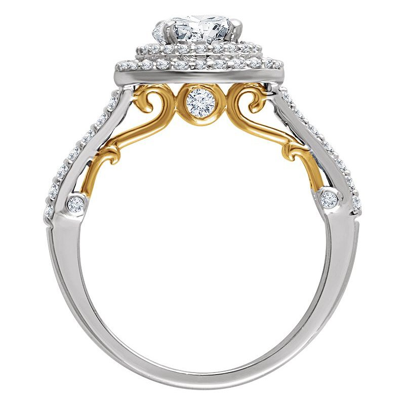 Vivid Jewelers 14kt Two Tone Halo Engagement Ring