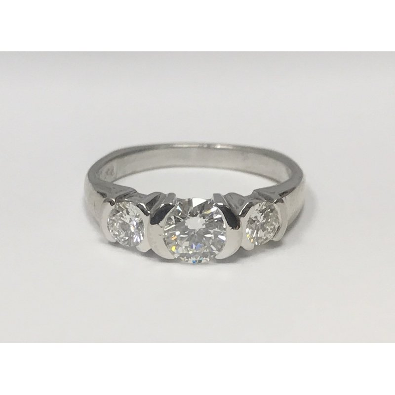 Antique, Estate & Consignment Platinum Walls Moonlight Three Stone Diamond Ring