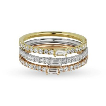 Baguette Diamond Tri Color Stack