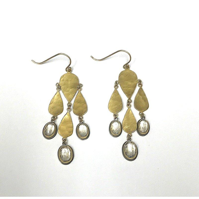 Ananda Khalsa Jewelry Rose Cut White Topaz Chandelier Earrings