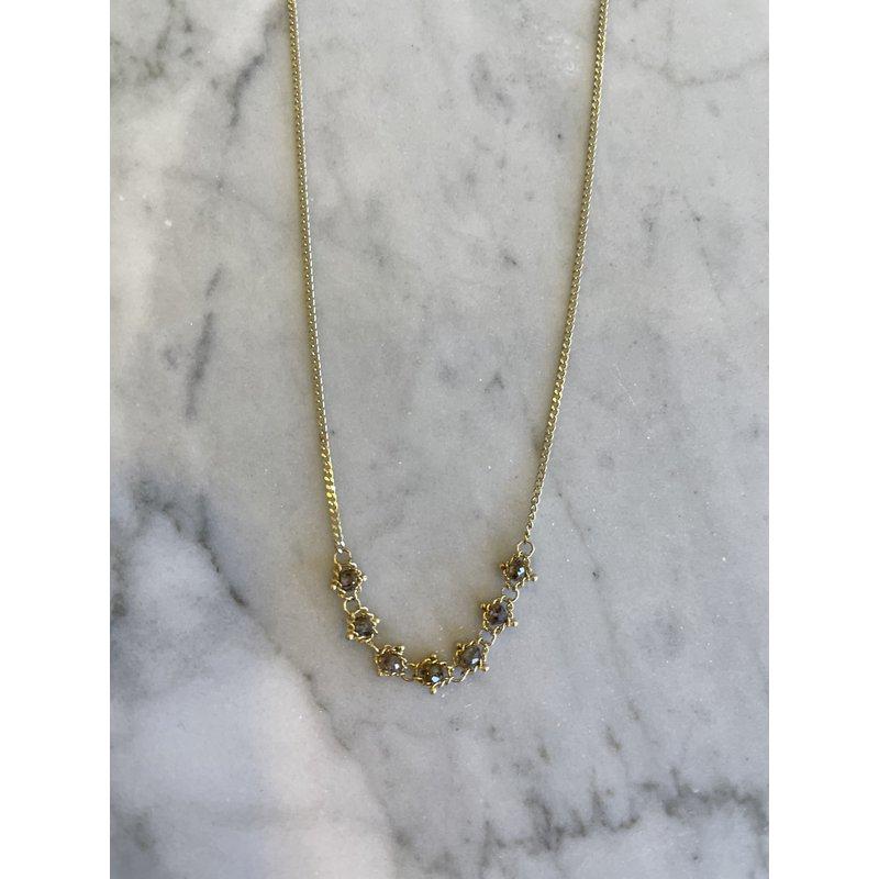 Amali Champagne Diamond Petite Textile Necklace