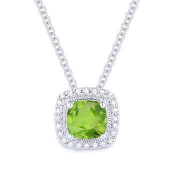 Peridot & Diamond Halo Necklace