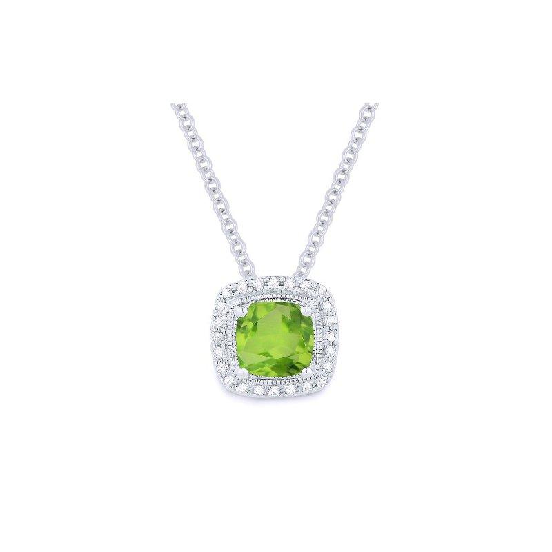 Madison L Peridot & Diamond Halo Necklace