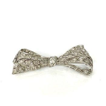 Platinum Diamond Bow Pin