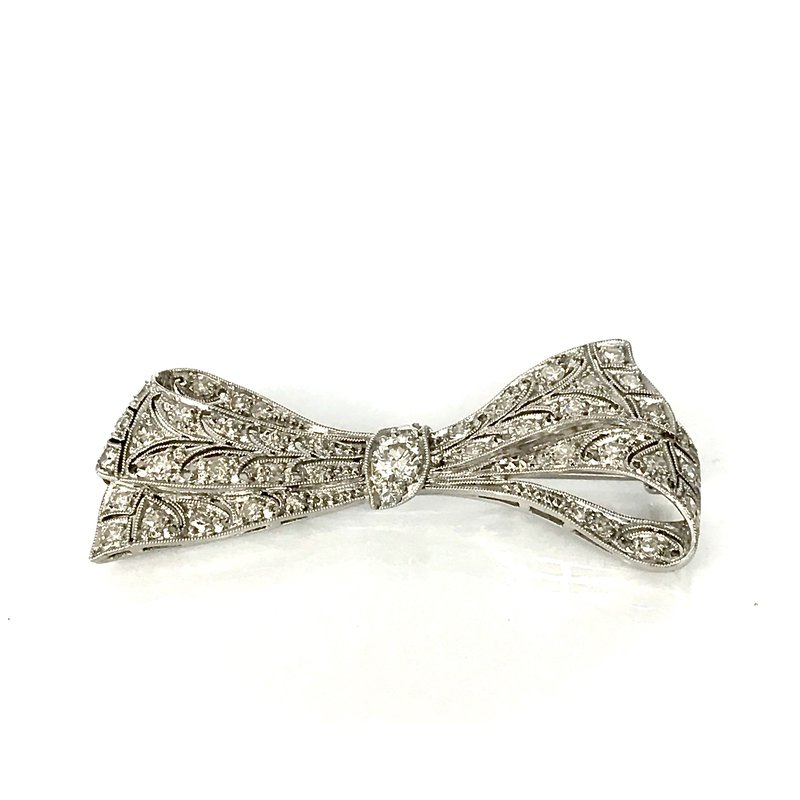 Antique, Estate & Consignment Platinum Diamond Bow Pin