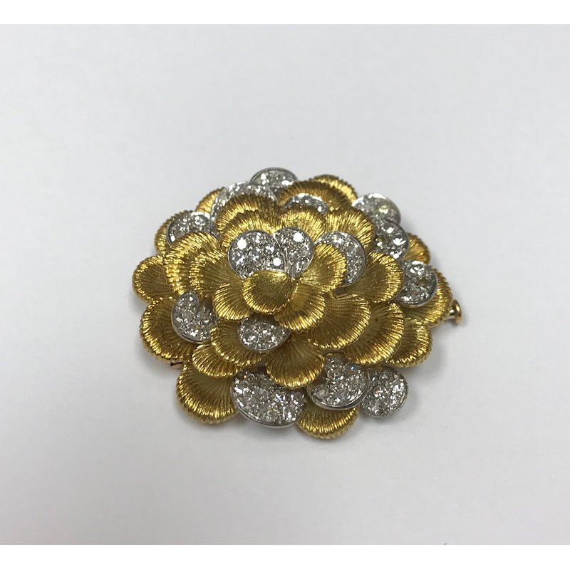 Antique, Estate & Consignment Floral Platinum & Gold Diamond Brooch