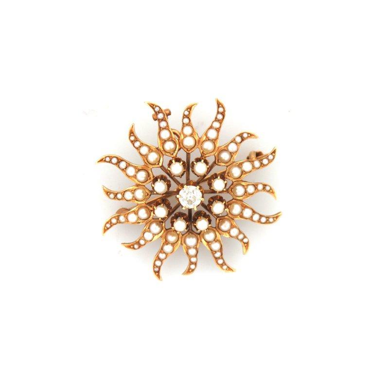 Antique, Estate & Consignment Starburst Pearl & Diamond Pin