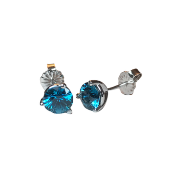 Round Blue Zircon Stud Earrings