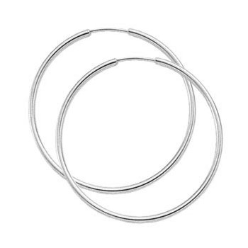 White Gold Endless Hoop Earrings - 40mm