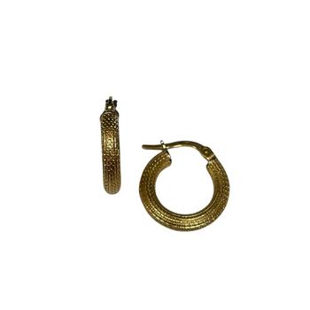 18k Milgrain Gold Huggie Earrings