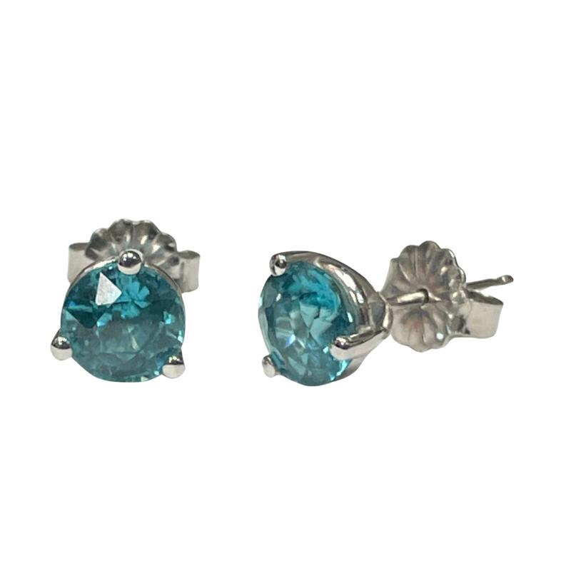 Antique, Estate & Consignment Blue Zircon Stud Earrings