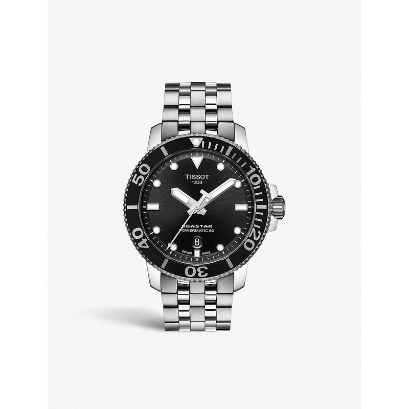 Tissot Seastar 1000 Powermatic 80 Black Dial Steel Bracelet