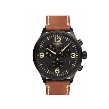 Chrono XL Black Dial Brown Leather