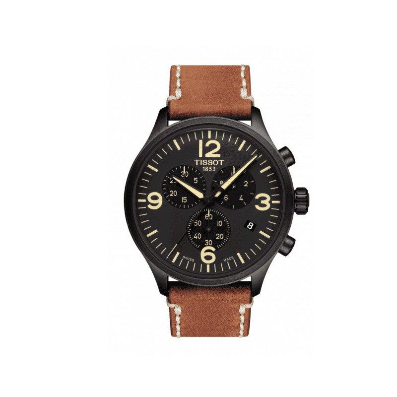 Tissot Chrono XL Black Dial Brown Leather